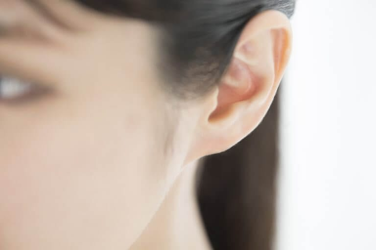 A Japanese woman's left ear