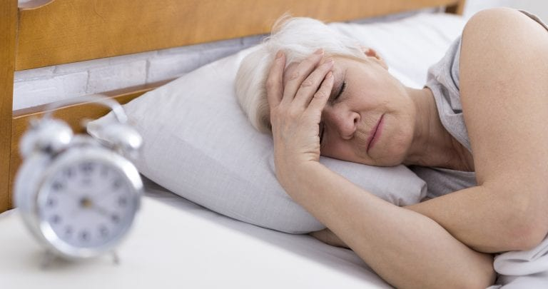 Senior women struggling to sleep