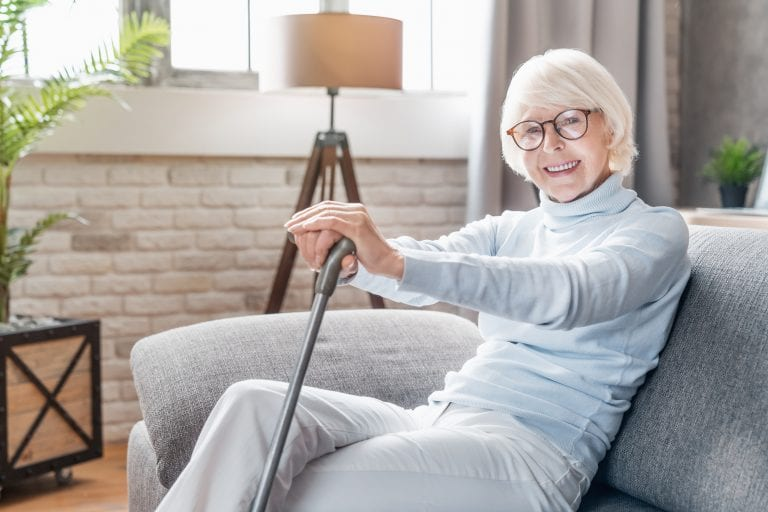 woman recovering from hip replacement surgery